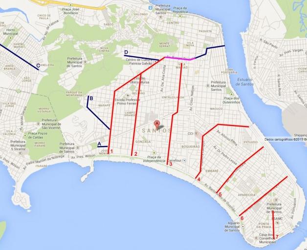Canais de Santos Mapa